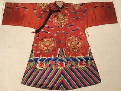 """ANTIQUE 19/ 20th QI'ING CHINESE WOMAN EMBROIDERED SILK """"DRAGON"""" ROBE EMBROIDERY!"""