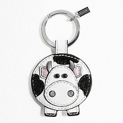NEW Coach 92775 Leather Cow Black & White Key Ring Chain Charm Brand New