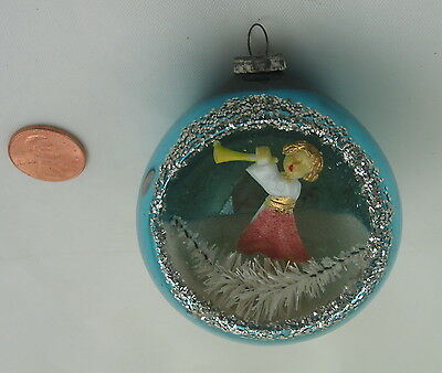 Rare Vintage Christmas Diorama Indent Glass Ornament Angel With Horn