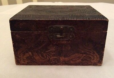 Vintage Hand Carved Handmade Wood Box With Hinged Lid And Floral Design