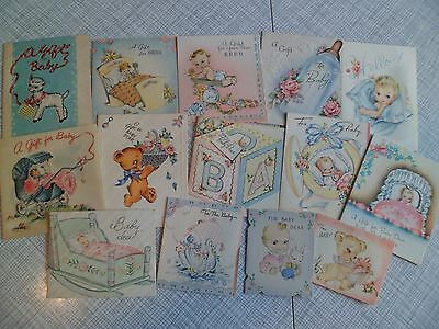 Vintage Lot of 14 1940's Baby Gift Enclosure Cards Great for Scrapbooking Crafts