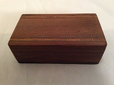 Antique Inlaid Inlay Deco Marquetry Wooden Jewelry Trinket Box