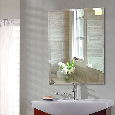 Wall-mounted Bathroom Mirror Rectangle Frameless Home Hotel Vanity Silvered Deco