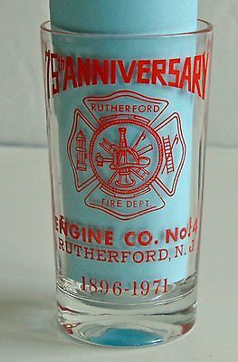 75th Anniversary Engine Company Number 4 Rutherford NJ 1971 Glass