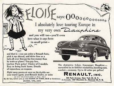 1958 Renault Dauphine: Eloise, I Absolutely Love Touring Print Ad (20194)