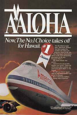 1981 American Airlines: Aloha, 747 Print Ad (17205)