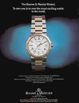 1980 Baume & Mercier Riviera Watch: To Own One Print Ad (17666)