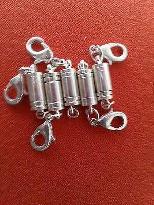 Magnetic clasp converters. 5x silver colour. Easy fix for tiny necklace clasps.
