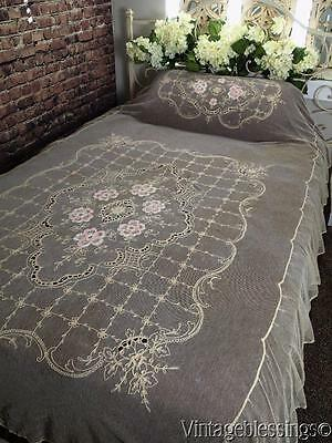 """Pastels! Antique Tambour Embroidered Floral Lace Tulle c1900 Coverlet 96x68"""""""