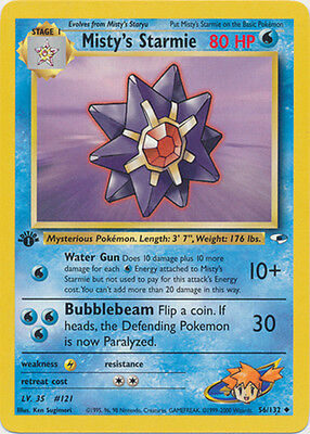 Misty's Starmie Uncommon 1st Edition Pokemon Card Gym Heroes 56/132