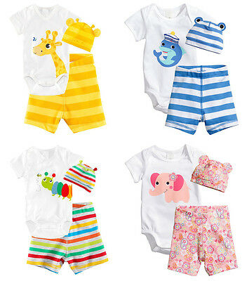 3pcs Boy Girl Baby Toddler Hat+Romper+Shorts Clothing Set 0-18M Outfit Clothes