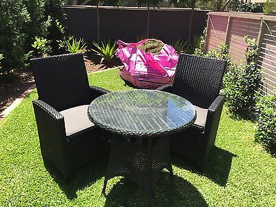 Outdoor setting, Two chairs, Cushions and Glass Top