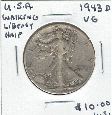 United States USA 1943D Silver 50 Cents Walking Liberty