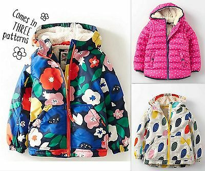 NEW ex Mini Boden Shaggy Lined Anorak Girls Winter Coats 3-8Y Brand New