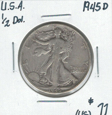 United States USA 1945D Silver 50 Cents Walking Liberty