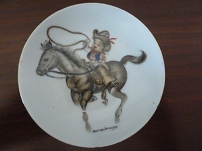 Brownie Downing Rare Vintage 10Cm Plate Of Cowboy On A Horse.