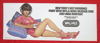 WPLJ radio 1979 mint condition subway poster Linda Ronstadt art by Olivia