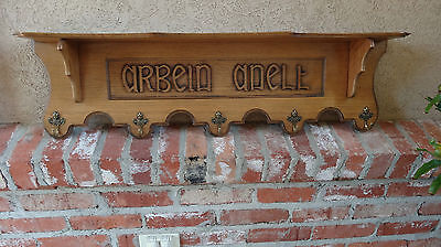 "Antique English Carved Wood Wall Shelf Coat Hat Rack DUTCH ""ardein anelt""  BRASS"