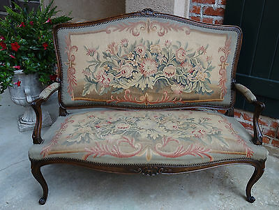 Antique French Carved Oak Louis XV Settee Sofa Bench Aubusson Tapestry Loveseat