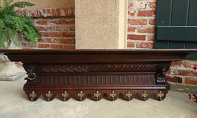 Antique FRENCH Carved Oak Wall Shelf Hat Plate Coat Rack Kitchen Renaissance