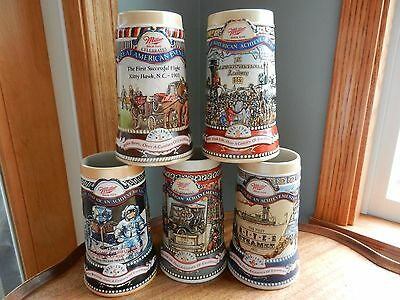 5 MILLER Great American Achievements and Events Beer Steins Mugs * mint *
