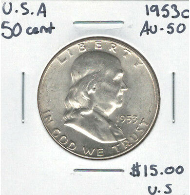 United States USA 1953D Silver 50 Cents Franklin