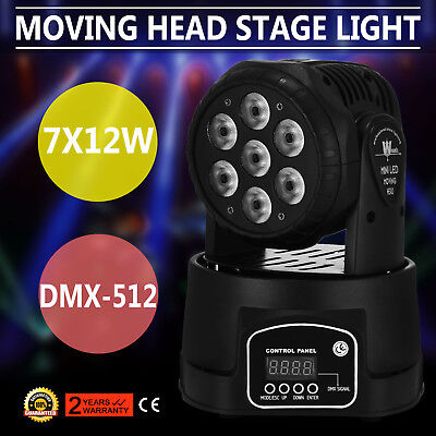 RGBW 7x12W LED Moving Head Stage Par Light Flat CAN Wash Color Auto Strobe