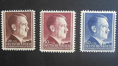 3 RARE MINT stamps  Germany 1942 Hitler's 53rd Birthday