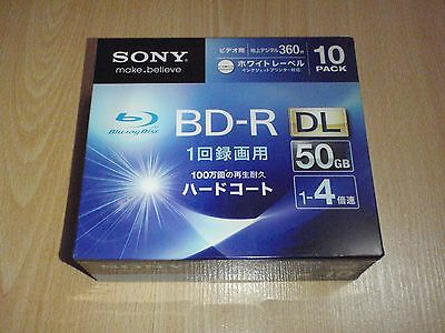 Sony BD-R Dual-Layer Blu-ray Disc 10-Pack 50GB Inkjet Printable Factory Sealed