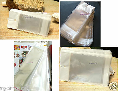 30x Clear Self Adhesive resealable Cello Plastic Bags with hang tab display gift