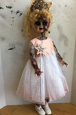 """Zombie Doll OOAK Horror Princess Pageant Haunted Scary Halloween 31"""""""
