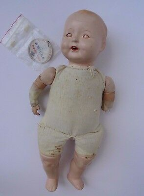 Ideal Baby Smiles doll Original Tag Composition for Repair