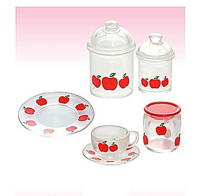 "Re-Ment ""Tea Time"" #13 - Clear Apple Dishware; 1:6 for Barbie kitchen miniatures"