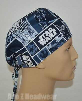 STAR WARS Characters in Block TRADITIONAL TIE BACK Unisex Surgical Scrub Hat Cap