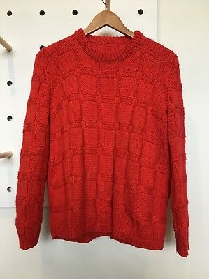 hand knitted jumper Red