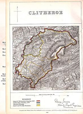 Clitheroe.Boundary Commissioners report.Map.Lancashire.1868.Antique.Plan