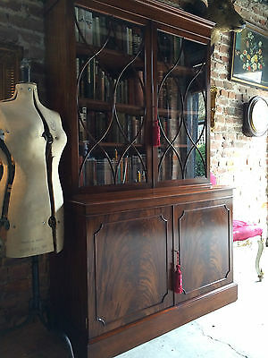 Stunning Antique Style Bookcase Mahogany Display Cabinet Two Door Large Astragal