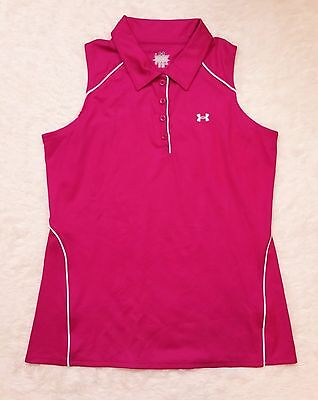 Under Armour Sleeveless Golf Polo Size Large Fuchsia Pink Collar White Piping G1