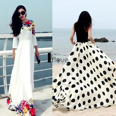 Women Chiffon Polka Dot Floral Boho Maxi Wedding Cocktail Party Long Beach ILOE