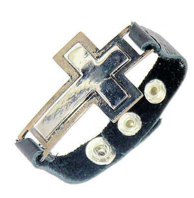 Metal Cross / Crucifix Leather Bracelet / Leather Wristband Gothic Surf Surfer