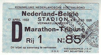 MATCH TICKET HOLLAND v BELGIUM 1932 PLAYED IN AMSTERDAM ULTRA RARE!