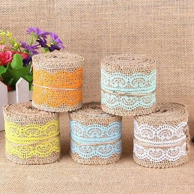 20M Hessian Roll Jute Burlap Natural Rustic Lace Ribbon Wedding Party Decor 5CM