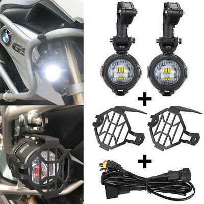 LED Auxiliary Fog Light + Protect Guard + Wiring Harness For BMW R1200 GS /ADV
