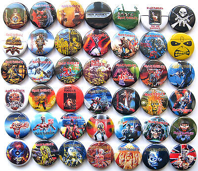 IRON MAIDEN Pin Button Badges Purgatory Powerslave Killers Trooper Set Lot of 42