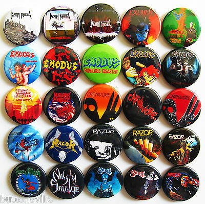 EXODUS EXUMER NUCLEAR ASSAULT CARNIVORE OTHERS Thrash Metal 25 Pin Button Badges