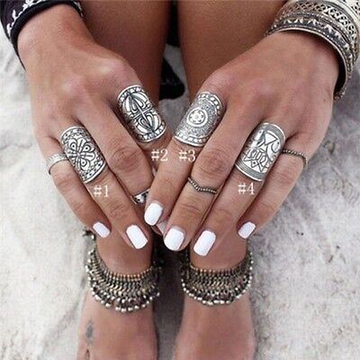 Women Band Ethnic Beauty Chunky Silver Wide Jewelry Ring Beautiful Women's