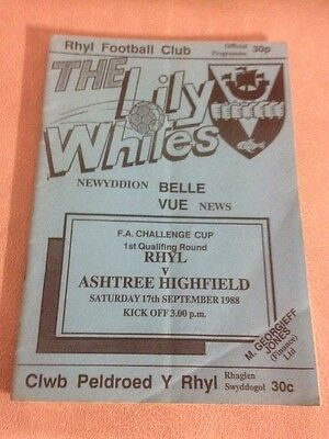 Rhyl v Ashtree Highfield FA Cup 1st qualifying rnd 17/9/88