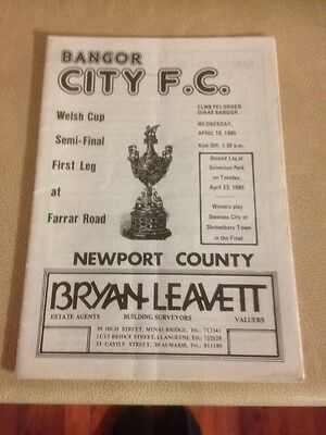 Bangor City v Newport County Welsh cup semi final 1st leg 10/4/85