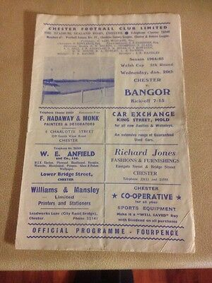 Chester City v Bangor City welsh cup 20/1/65 5th rnd