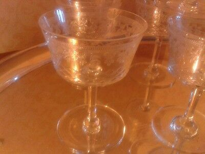 6 Exquisite English Antique Pall Mall Champagne Crystal Glasses - deliver local